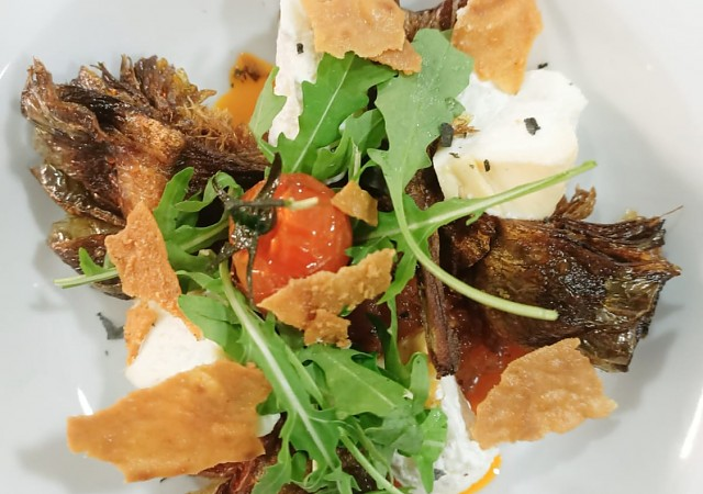 Fried artichokes, spicy ratatouille, and smoked burrata