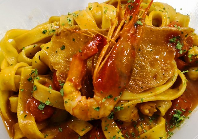 Tagliatelle with prawn ragu and its own sauce